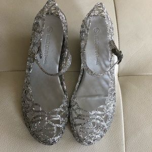 NWOT Clear Glitter Jelly Shoes, Size 9